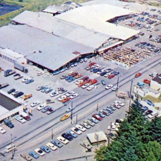 Aerial view of the Old Yard Birds building.