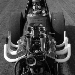 Dwight Obermire in his Dragster before a race.