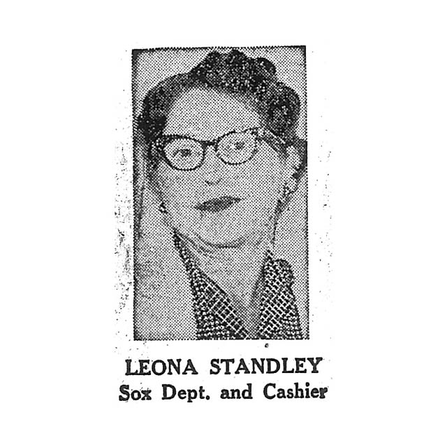 Leona Standley Sox Department and Cashier